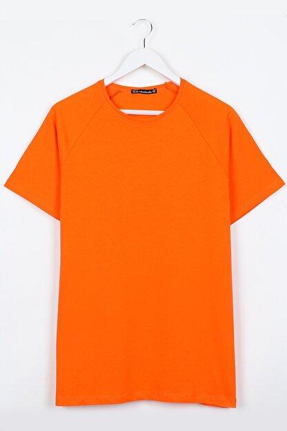 Sekizbiraltı Turuncu Reglan Kol Basic Unisex Tshirt