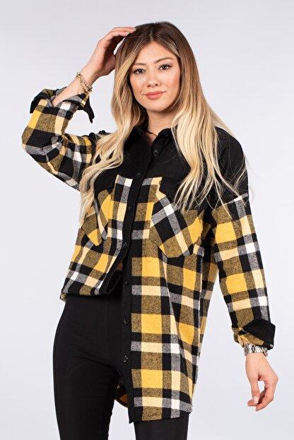 modawars Ekose Kadife Oduncu Gömlek Tunik