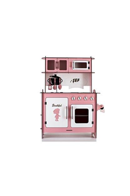EMRİN AHŞAP OYUNCAK VE HEDİYELİK EŞYA Pembe Renk -Büyük Boy  Evcilik Oyuncak Mutfak Seti - Montessori - Model:epyb1