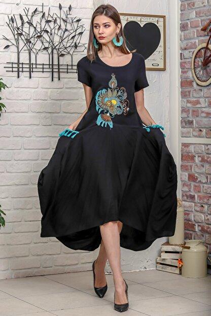 Chiccy Kadın Siyah Ottoman Yelpaze Nakışlı Cepleri Püsküllü Asimetrik Salaş Elbise