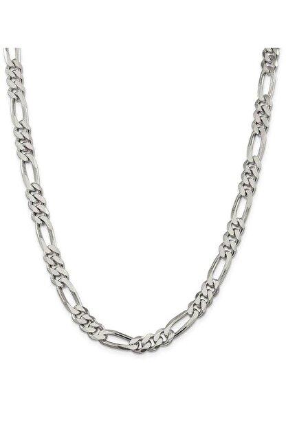 ENCİLİ SİLVER Erkek Encili Silver 925 Ayar Gümüş Figaro Zincir Kolye