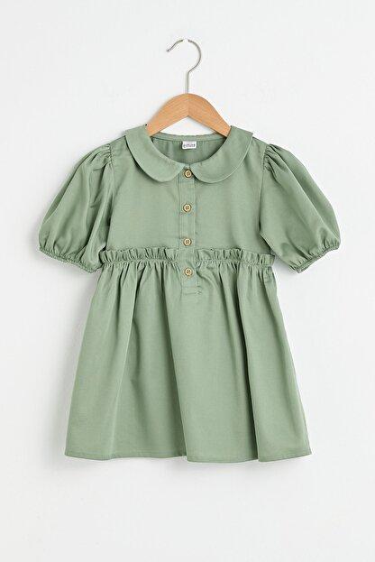 LC Waikiki Kız Bebek Açık Haki Quw Elbise