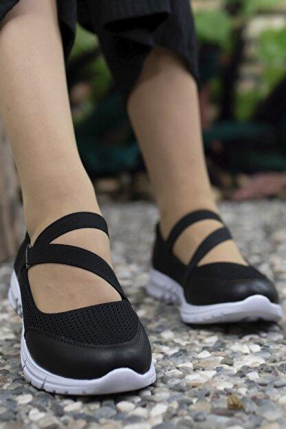 Riccon Kadın Siyah Beyaz Casual Ayakkabı 0012601