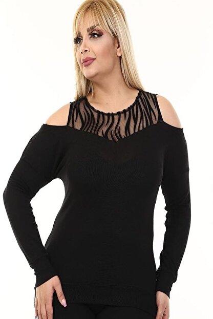 Şirin Butik Kadın Siyah Omuz Detaylı Büyük Beden Viskon Bluz