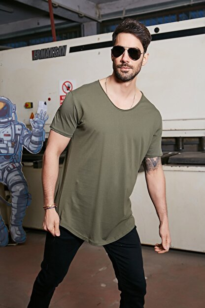Sateen Men Erkek Haki Kısa Kol Long Kesim Basic T-Shirt