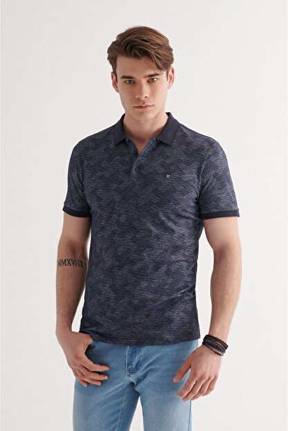 Avva Erkek Lacivert Polo Yaka Jakarlı T-shirt A11y1116