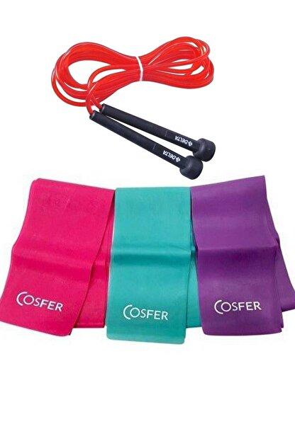 Cosfer 3 Lü Pilates Bandı 3 Farklı Dirençte Plates Lastiği 120x7.5 Cm + Atlama Ipi Kondisyon