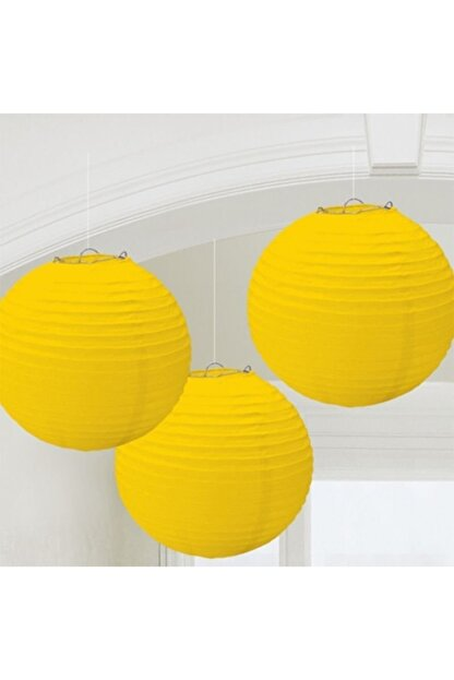 Parti Feneri Sarı Renkli Kağıt Japon Feneri 30 cm