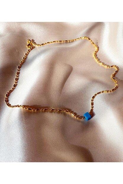 Fashion Jewellery Kadın Altın Star Blue Shine İnce Charm Kolye