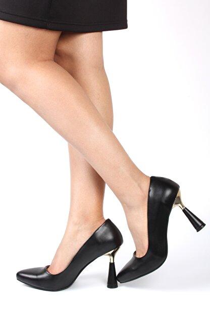 FORS SHOES Kadın Siyah  Cilt Klasik Topuklu Ayakkabı Yeni Topuk Nazita Ayakkabı