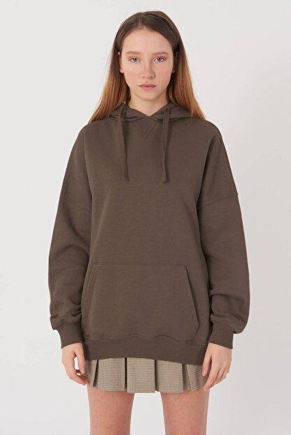 Addax Kadın Vizon Kapüşonlu Sweatshirt S0519 - P10V1 Adx-0000014040