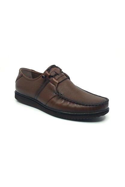 Taşpınar Erkek Kahverengi Deri Yazlık Rahat Tam Ortopedik Ayakkabı 39-45