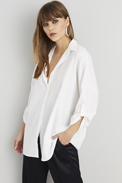 Cool & Sexy Kadın Beyaz Salaş Tunik Gömlek Q910