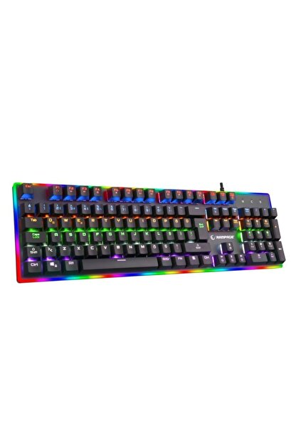 Rampage BYGAME-K1 RGB Led Frame Rainbow Mekanik Blue Switch Gaming Oyuncu Klavyesi