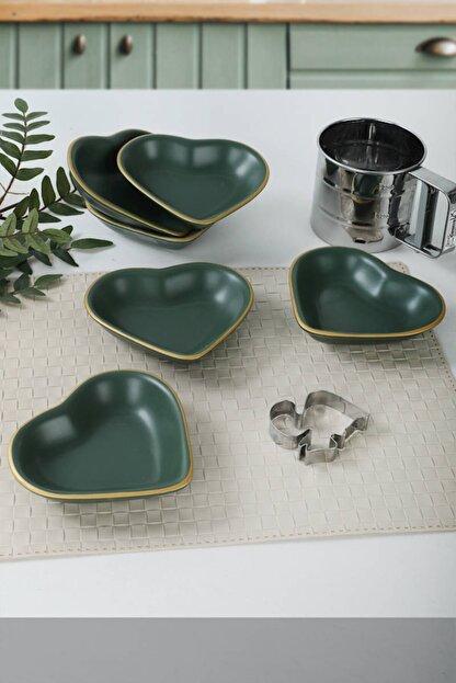 Keramika Mat Yeşil Altın Fileli Kalp Çerezlik / Sosluk 14 Cm 6 Adet