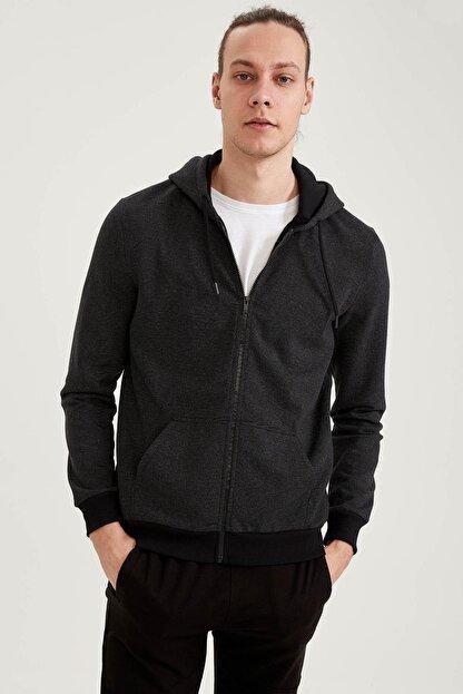 Defacto Erkek Siyah Slim Fit Kapüşonlu Fermuarlı Sweatshirt