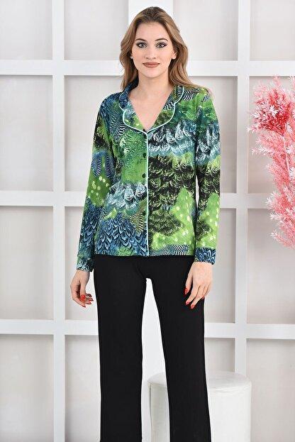 OENDO Yeşil Siyah Baskılı Viskon Örme Pijama Takımı Nd-2005