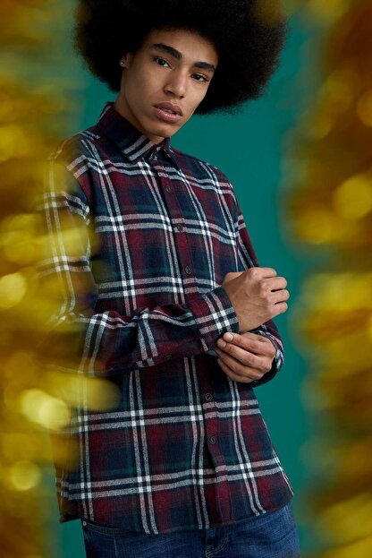 Defacto Ekose Uzun Kollu Regular Fit Gömlek Ceket