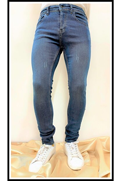 JEAN'S WEAR Erkek Kot Skınny Yeşil Yıkamalı Lazer Tırnaklı Jeans