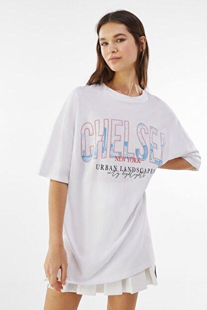 Bershka Kadın Beyaz Desenli Oversize T-Shirt 01971987