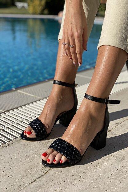 İnan Ayakkabı Tek Bant Ince Örgü Bilekli Topuklu Ayakkabı