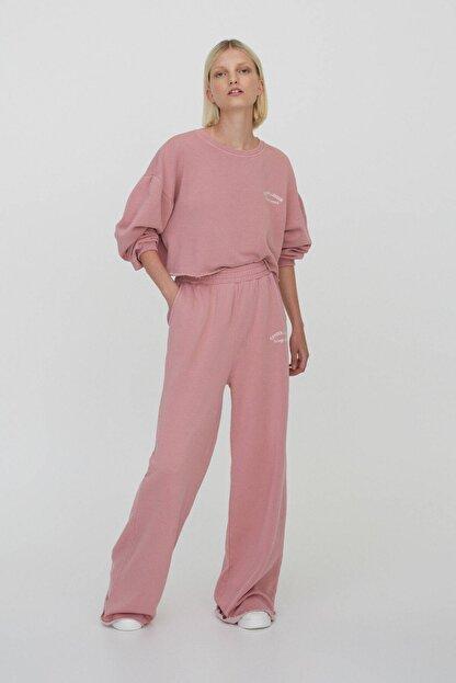 Pull & Bear Kadın Pembe Slogan İşlemeli Jogging Fit Pantolon 04676340