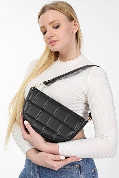 meyoubags Kadın Siyah Kapaklı Oval Baget Omuz Çantası
