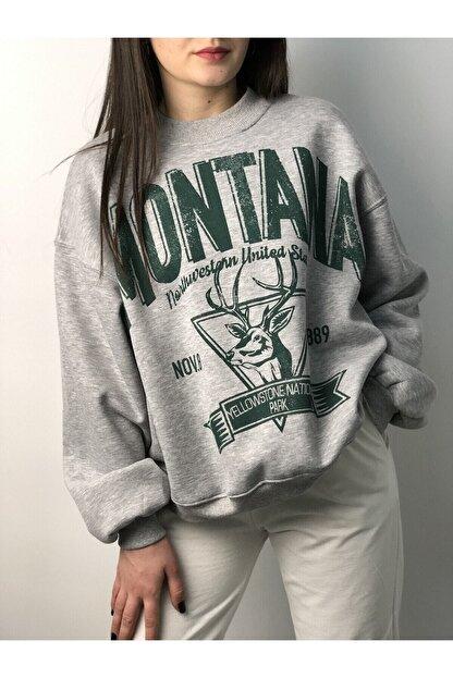 Butik Nays Kadın Gri Montana Baskılı Sweatshirt