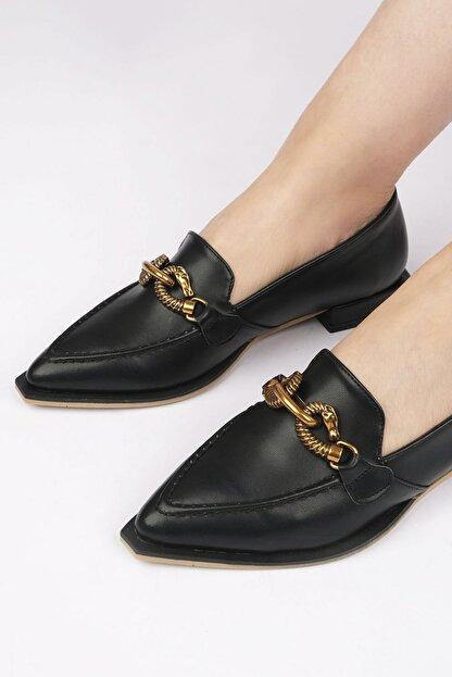 Marjin Kadın Siyah Loafer Ayakkabı Tolira