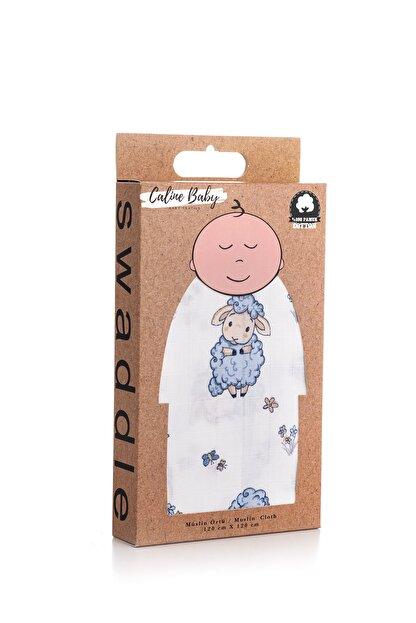 Caline Baby Mavi Kuzu Desen Müslin Bezi Örtü 120x120 cm + 4 Adet Ağız Mendili