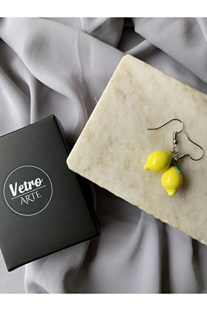 Vetro Arte El Yapımı Cam Limon Küpe