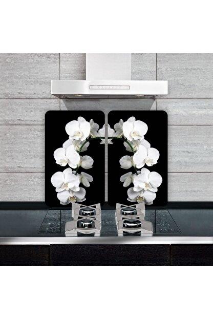 Saban Dekoratif Cam Ocak Koruyucu ve Kesim Tahtası Beyaz Orkide 60cm X 52cm 2 Parça, 4'lü Ocaklar