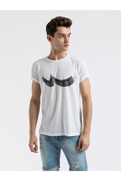Ltb Erkek  Beyaz  Baskılı  Kısa Kol Bisiklet Yaka T-Shirt 012198454469830000