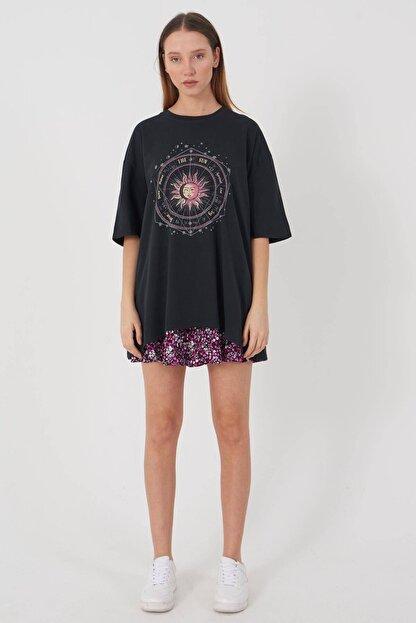 Addax Kadın Füme Baskılı Oversize T-Shirt P9407 - T8 Adx-0000022025