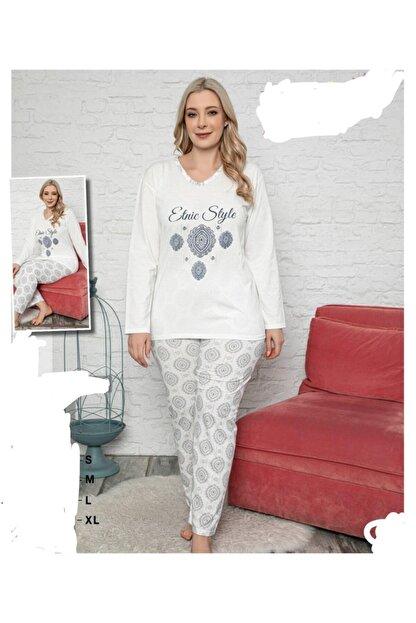 meynur moda Battal Beden Uzunkollu Pijama Takımı