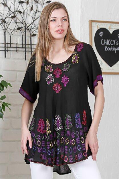 Chiccy Kadın Siyah Çiçek Baskılı Nakış Dikişli Kısa Kol Batik Salaş Dokuma Bluz M10010200BL95495