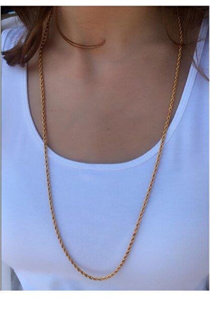 Serpil Jewellery Kadın Altın Sarısı Uzun Çelik Burgu Zincir
