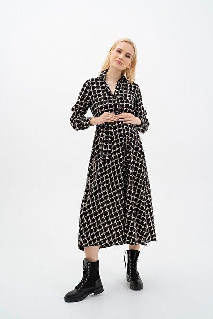 MUMELLA Kadın Krem Siyah Geometrik Şekilli Elbise