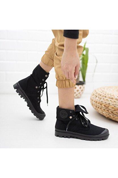 Kesha Kadın Siyah Keten Bağcıklı Bileği Uzun Katlanabilen Spor Ayakkabı