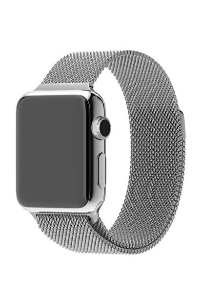 Techmaster Apple Watch 2 3 4 5 Uyumlu Gümüş  Metal Hasır Kordon