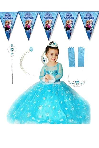 partikirtasiye Kız Çocuk Mavi Elsa Kostüm Saç Taç Asa Eldiven Setli Flama Hediyeli