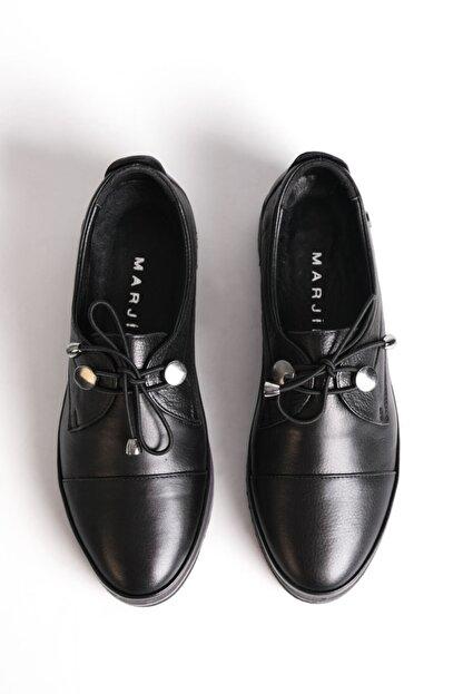 Marjin Kadın Siyah Hakiki Deri Comfort Ayakkabı Demas