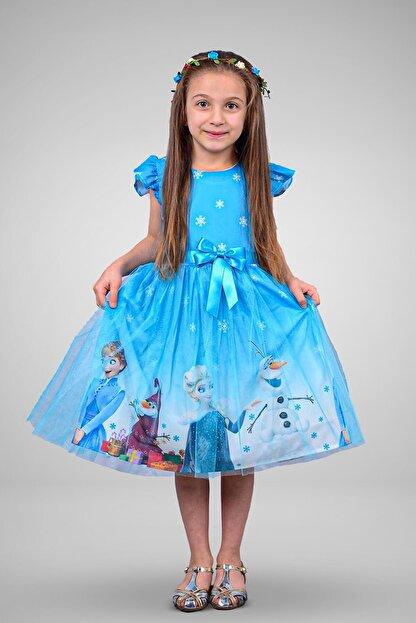 Mnk Kız Çocuk Mavi Karlar Ülkesi Elbisesi