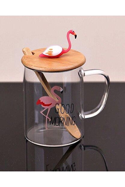 ÇILGIN Flamingo Figürlü Bambu Kapaklı Cam Kupa