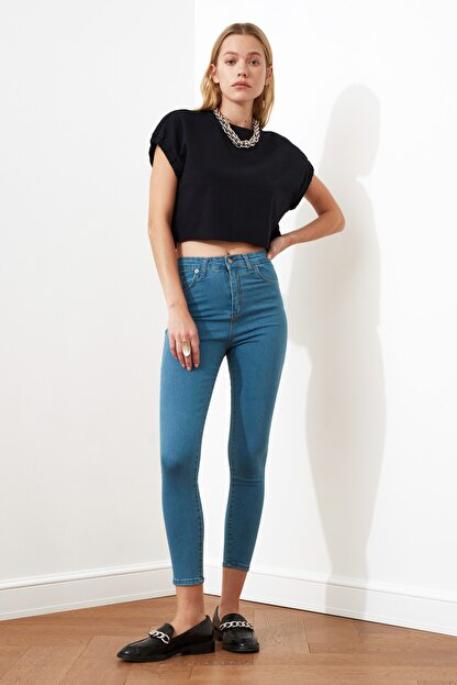 TRENDYOLMİLLA Indigo Yüksek Bel Skinny Jeans TWOSS20JE0301