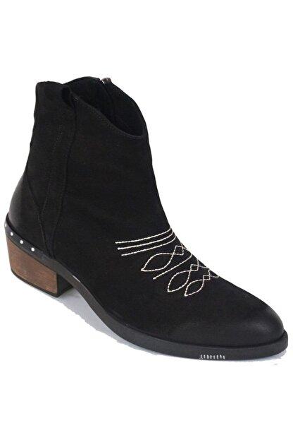 Ustalar Ayakkabı Çanta Siyah Kadın Western Hakiki Deri Bot 401.53-08