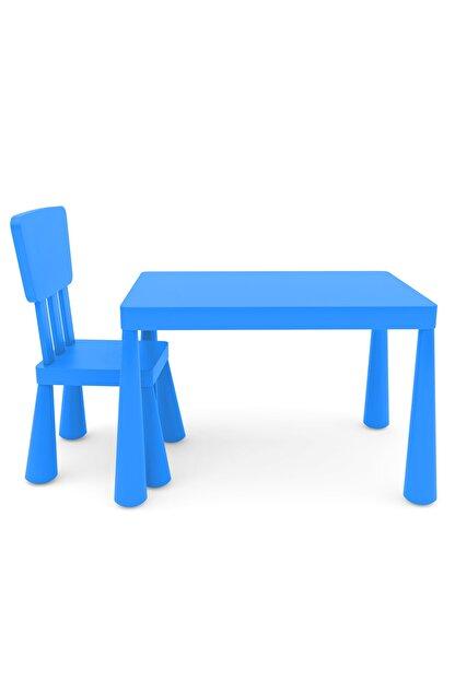 EMFURE Mavi Çocuk Masası Ve Sandalye Mammut 1+1