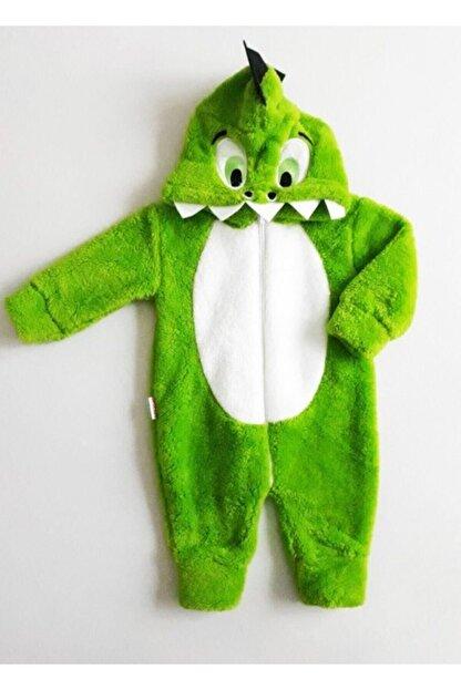 Bebesev Baby Unisex Bebek Yeşil Beyaz Peluş Timsahlı Tulum