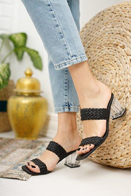 meyra'nın ayakkabıları Kadın Siyah Örgü Bant Ve Şeffaf Topuk Detaylı Topuklu Terlik