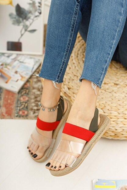 Muggo Kadın Kırmızı Yeşil Şeritli Sandalet